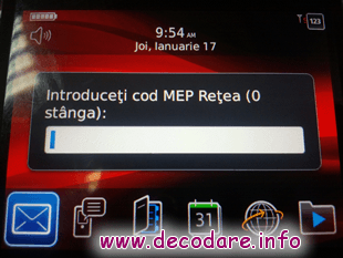 Decodare Blackberry MEP 0 LEFT