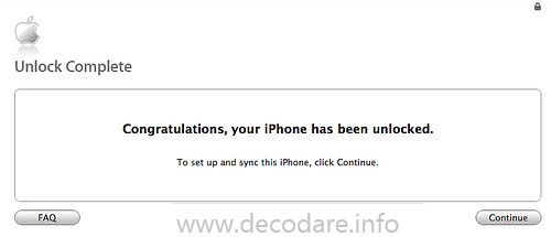 Itunes afiseaza mesajul: Congratulations your iPhone has been unlocked !